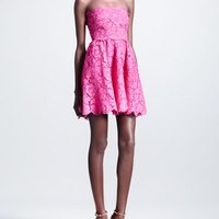 Short Strapless Lace Dress, Fuchsia
