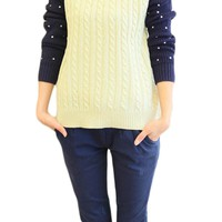 Dots Contrast Color Lapel Long Sleeve Sweater,Cheap in Wendybox.com