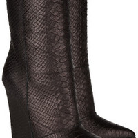 Giuseppe Zanotti Snake-effect leather mid-calf boots – 85% at THE OUTNET.COM