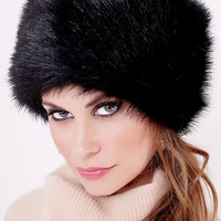 Black Fox Faux Fur Russian Hat | Fabulous-Furs