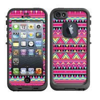 Skins Kit for Lifeproof iPhone 5 Case (skins/decals only) - Aztec Pattern Print Pink Red Colorful Cute