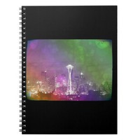 Seattle Space Needle Rainbow Spiral Notebooks