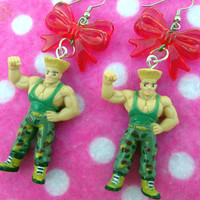 Street Fighter Guile Action Hero Gamer Earrings
