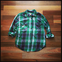 Green Check // Vintage Plaid Flannel Shirt // Grunge Hipster Style // Large
