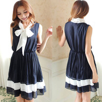 Womens Sleeveless Big Bow Front Chiffon Color Block Blouson Dress Large Hem HOT
