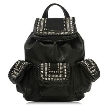 Stylish Punk Cool Rivet Braid Black Backpack Bag