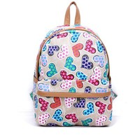 Versatile Casual Students Mixed Colors Heart Shape Cute Preppy Backpack