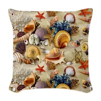 Fancy Seashell Woven Throw Pillow