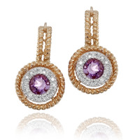 Rope Stack Diamond & Amethyst Earrings