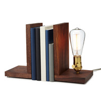 Walnut Bookend Lamp