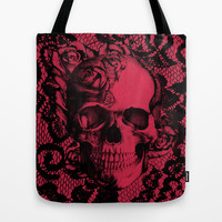 Gothic Lace Skull in red and black. Tote Bag by Kristy Patterson Design