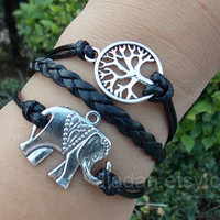 Elephant bracelet, hope tree bracelets, leather bracelets, black mysterious bracelet, cool bracelet, fashion charm jewelry