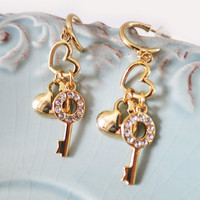 Wedding Heart Earrings Gold Key Charm Rhinestone Bridal Bridesmaids Earrings, Dangle, Cocktail Jewelry