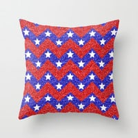 Chevron Star Spangled Banner Throw Pillow by Alice Gosling