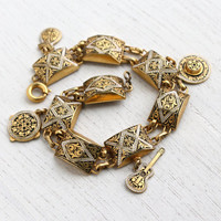 Vintage Enamel Damascene Style Charm Bracelet - Retro Gold Tone Panel Spain Design Costume Jewelry / Spanish Guitar, Hat Pendants