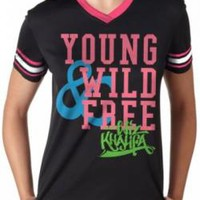 Wiz Khalifa Girls Football T-Shirt - Young Wild & Free