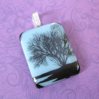 Tree of Life Pendant, Black and White Jewelry, Omega Slide, Tree Jewelry - Winter Beauty - 4400 -3