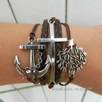Unisex simple fashion antique silver anchor,cross and Christmas tree pendant leather bracelet--brown wax rope , PU leather braided bracelet