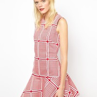 Peter Jensen Dropped Waist Dress in Card Print Canvas