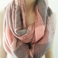 Pink Plaid Infinity Scarf Scarves Shawl Cowl Grey and Pink - ON SALE -