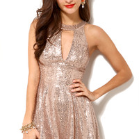 Sequined Keyhole Babydoll Dress in Rose Gold