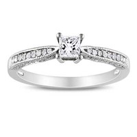 Princess-Cut Lab-Created White Sapphire and Diamond Accent Promise Ring in Sterling Silver