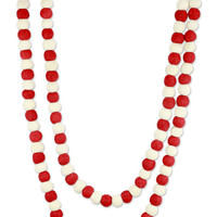Red and White Handmade Felt Holiday Garland - Candy Cane Pompoms | NOVICA