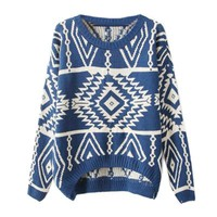 Zeagoo Women's Geometric Knitted Sweater Loose Pullover Outwear Blue