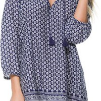 ROXY PAISLEY THREE QUARTER SLEEVE DRESS