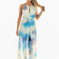 Blue Tropical Print Maxi Dress with Cutout Detail