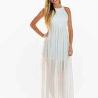 White Sequin Bodice Maxi Dress with Chiffon Skirt
