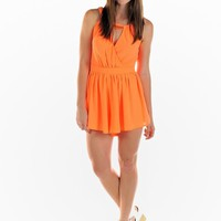 Orange V-Neck Layered Playsuit with Chain Neck Detail