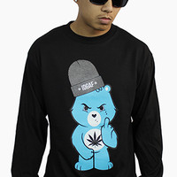 Don't Care Bear Long Sleeve Tee in Black