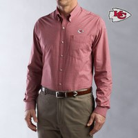 Cutter  Buck Kansas City Chiefs Men's Collegiate Check Woven Long Sleeve Shirt