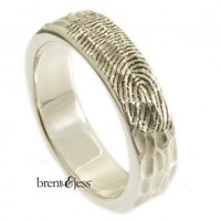 Sterling Silver Unique Carved Wood Texture Fingerprint Wedding Ring - brent&jess