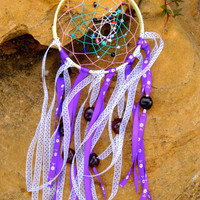Purple Ribbon Beaded Dream Catcher Wall Art Boho