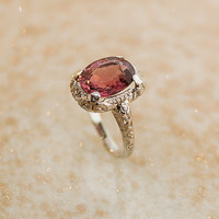 Antique 14k White Gold Pink Tourmaline Ring