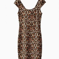 Animal Print Cap Sleeve Bodycon Dress