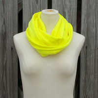 "Neon Yellow Infinity Scarf - The ""Petite"" All Season Circle Scarf - Neon Yellow - Great Size for Adults and Kids"