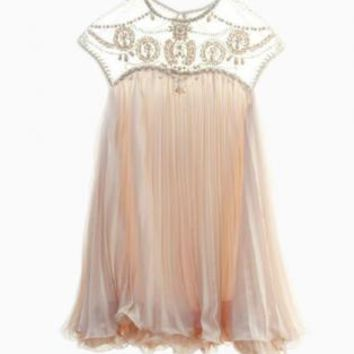 Pale Pink Beaded Chiffon Neckline Swing Dress