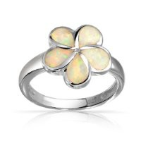 Bling Jewelry White Opal Inlay Hawaiian Plumeria Flower Ring 925 Sterling