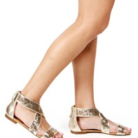 SALE-Gold Laser Cut Out Gladiator Sandals