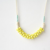Adjustable Pastel Color Rope Necklace with Pastel Lemon Yellow Ceramic Beads .Bib Necklace . Knot Necklace