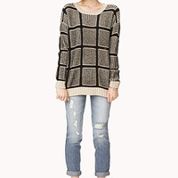 Standout Mixed Knit Grid Sweater