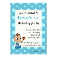Baby cartoon birthday print invitations