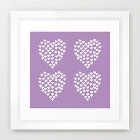 Hearts Heart x2 Radiant Orchid Framed Art Print by Project M