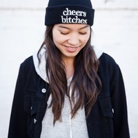 CHEERS BITCHES EMBROIDERY BEANIE