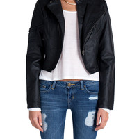 Moto Zipper Leather Jacket - Black