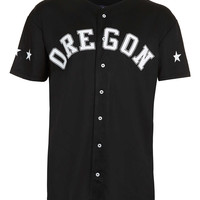 BLACK OREGON MESH BASEBALL T-SHIRT - New This Week - New In - TOPMAN USA