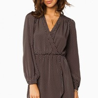 CECELIA WRAP DRESS IN DARK GREEN AND MAUVE POLKA DOTS